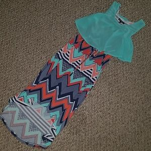 Cute high-low Chevron print dress